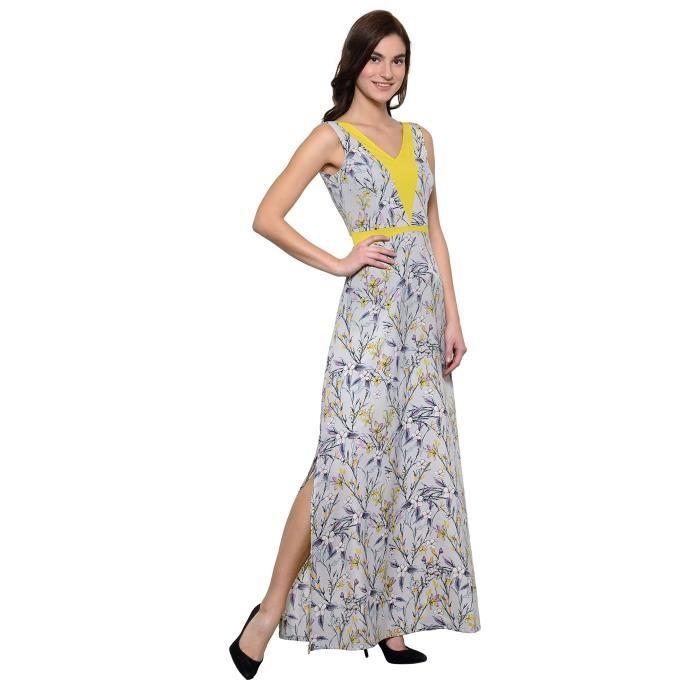 Crêpe A-ligne Maxi robe de la femme (gris, jaune) Q2YZS Taille-36