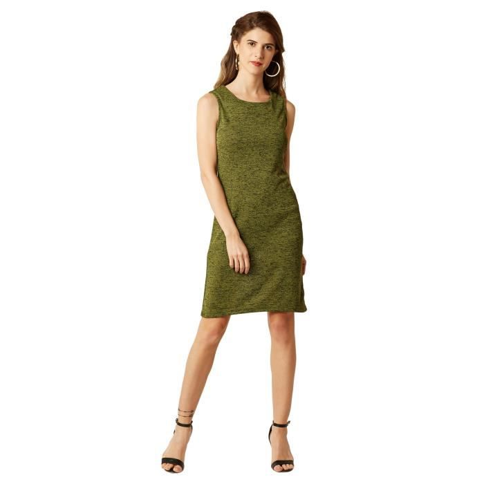 Womens Green Round Neck Sleeveless Solid Mini Shift Dress M3AUO Taille-38