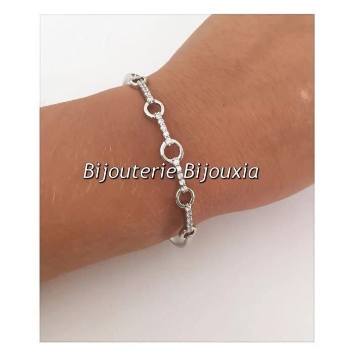 Bracelet Jonc Cercles Zirconium-Ouvrable-Argent Massif 925/1000
