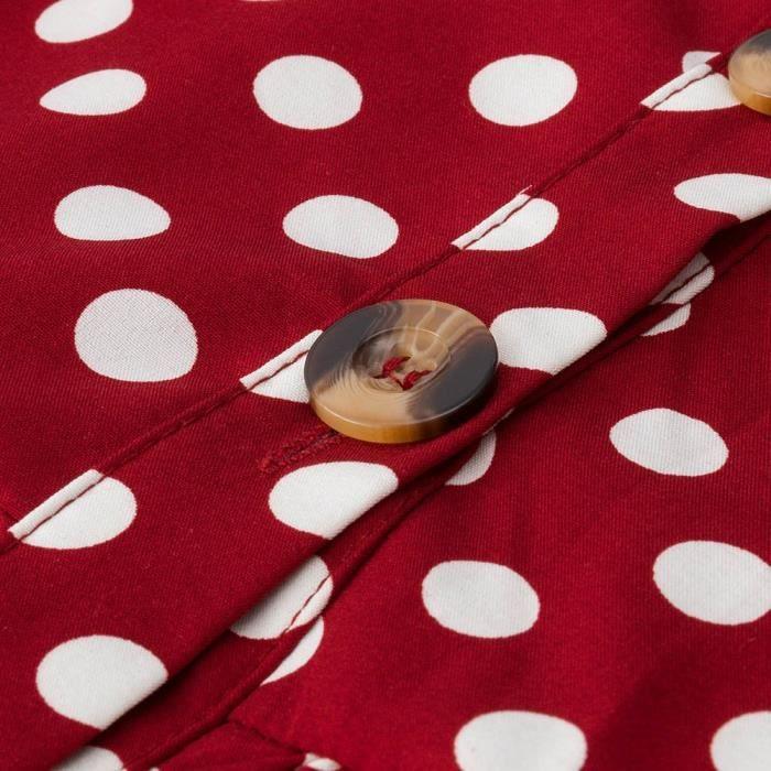 Spotted Longues Boho Cocktail Party Robe rouge D'été Longue Femmes Boutons Plage Manches OI5tq