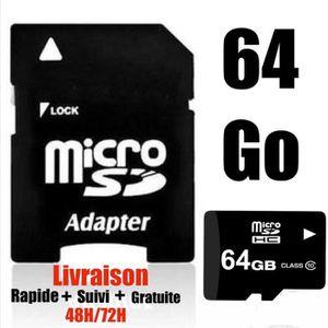 CARTE MÉMOIRE Carte Micro sd 64 Go SDHC/SDXC + Adaptateur 100% R