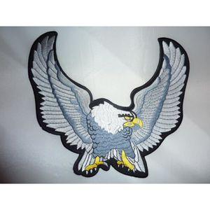 ACCESSOIRE CASQUE grand patch dorsal aigle gris de face, biker, harl