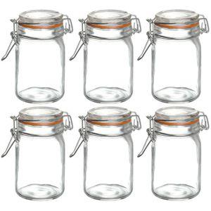lot 6 bocaux pot en verre herm tique anneau en silicone id al yaourt confiture 80ml achat. Black Bedroom Furniture Sets. Home Design Ideas