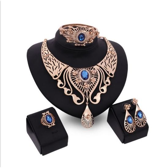 expédition de baisse divers design économies fantastiques Femmes Parures accessoires de mariage Cz Collier Cristal Bague Boucle  Bracelet Bijoux Set 18 K plaqué or