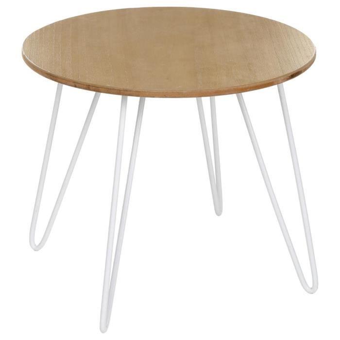 Bout de canapé- Style scandinave - Blanc - L 48 x l 48 x H 45 cm