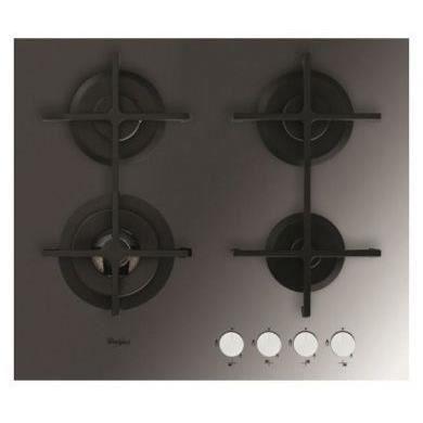 Whirlpool AKT7000MR - Table de cuisson gaz - 4 zones - 8000 W - Allumage 1 main - L 60 cm - Revêtement verre noir