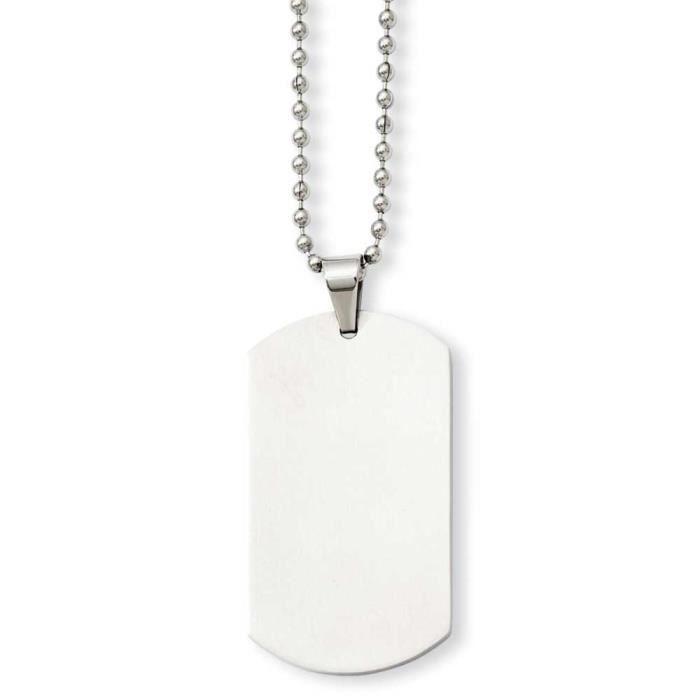 En acier inoxydable poli Dog Tag collier pendentif - 61 cm - 24 cm