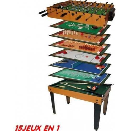 table multi jeux15 en 1 achat vente table multi jeux cdiscount. Black Bedroom Furniture Sets. Home Design Ideas