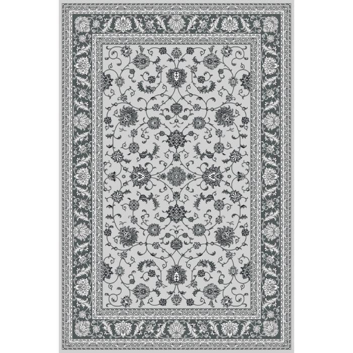 Tapis Oriental Traditionnel Classique Motif Floral Ornements Noir