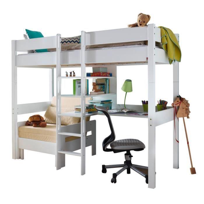 lit mezzanine combin 90x200 cm avec bureau fauteuil et 3 tag res en h tre massif coloris. Black Bedroom Furniture Sets. Home Design Ideas