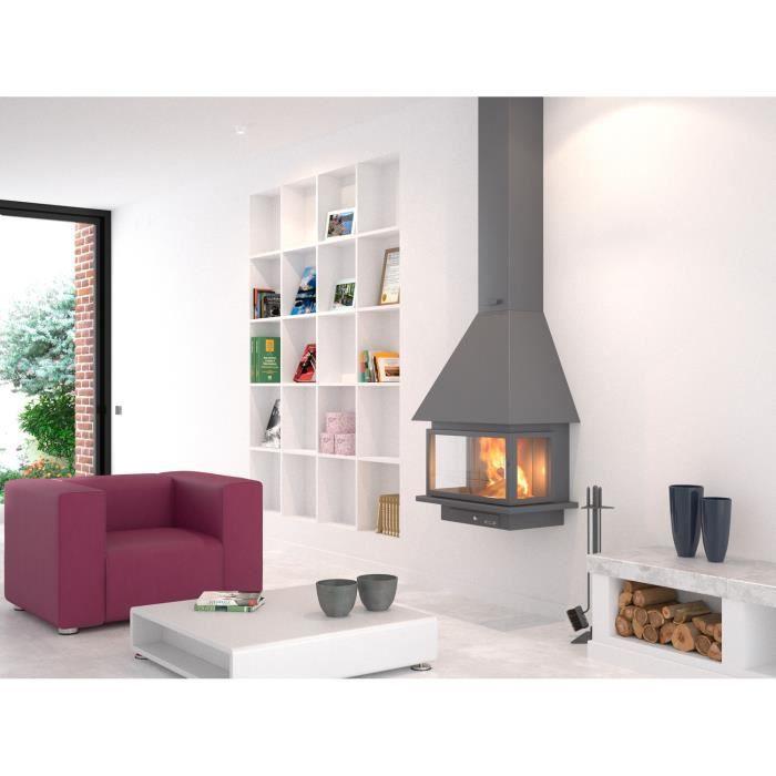 chemin e m tallique murale suspendue scoria s 12 kw ch57 f10 pc achat vente po le insert. Black Bedroom Furniture Sets. Home Design Ideas