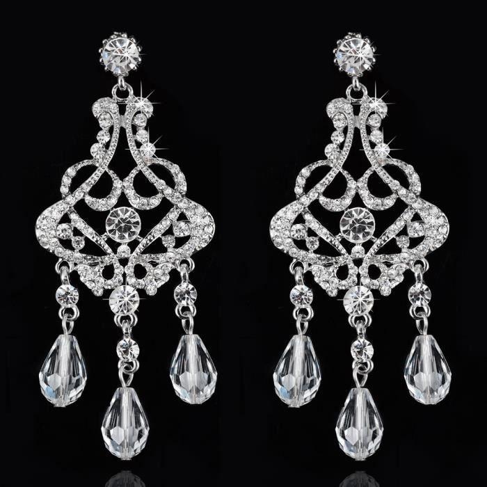 Bijoux de mariage cristal boucle doreille incrustés boucles doreilles.