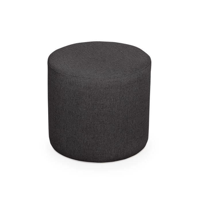 Pouf rond en tissu SALVADOR - Gris anthracite - Achat / Vente pouf ...