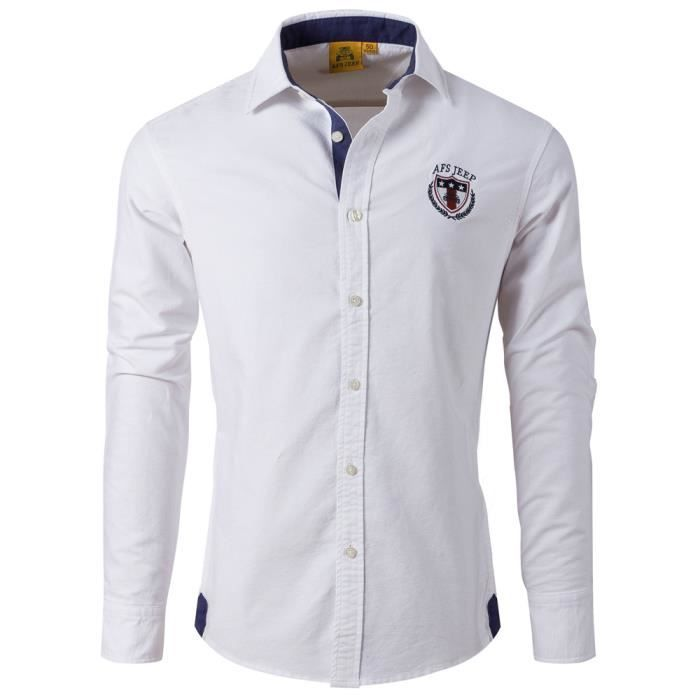 Chemise Homme Manche Longue Marque Luxe Slim F... Blanc - Achat ... 1e721ad4291