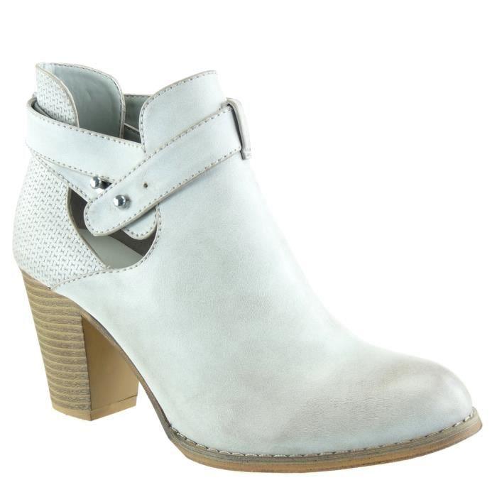 Angkorly - Chaussure Mode Bottine chelsea boots ouverte effet vieilli femme tréssé lanière clouté Talon haut bloc 8 CM - Noir - L5pSs41MFe