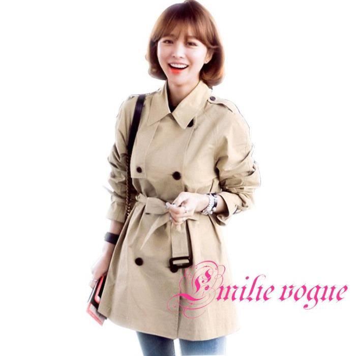 d261a8258c84 Manteau Trench Coat femme Uni pour hauteur petit orné d une ceinture-Emilie  Vogue