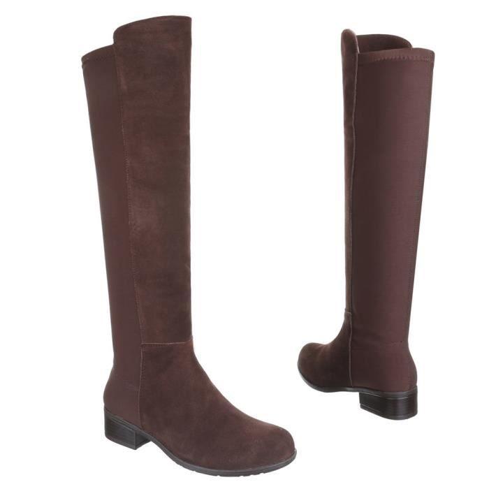 Chaussures femmes bottes chaleureux DOUBLÉ suède Bottine noir NwljQVt