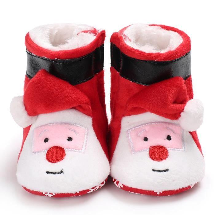 Père Noël Automne et hiver Nouveau Bottes bébé Loisirs Garde au chaud Fond mou Chaussures de bébé en bas âge