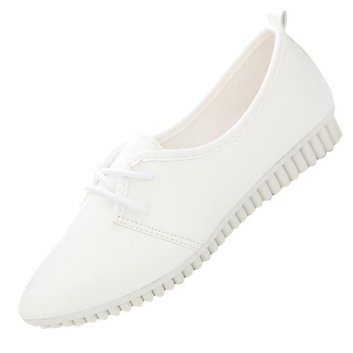 Chaussures plates de nouvelle mode vintage pour femme blanc US7 = EUR38 = longueur 24CM
