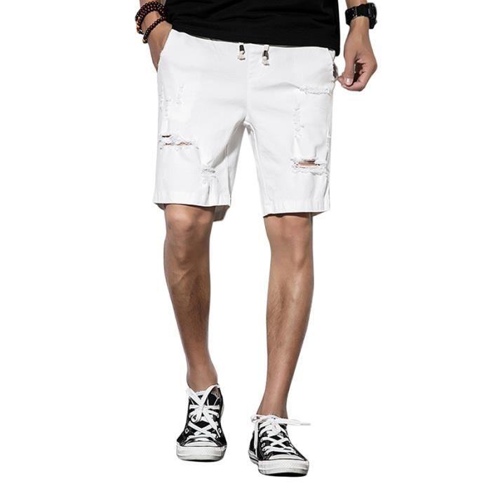 boutique de sortie choisir officiel personnalisé Jean troué homme short en jean homme slim fit Casual Blanc ...