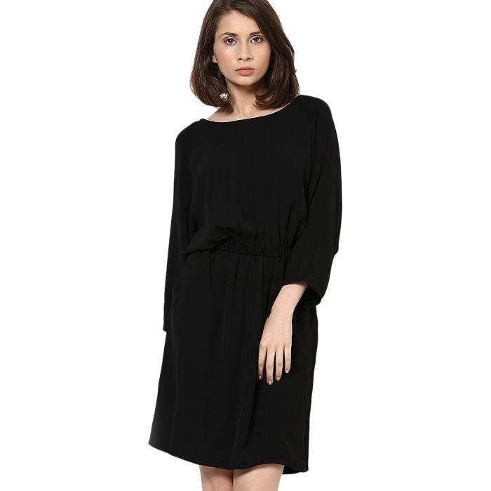 1cf4ecd9d3 Vero Moda robe une ligne de femmes Y5U02 Taille-38 Noir Noir - Achat / Vente  robe - Soldes d'été Cdiscount