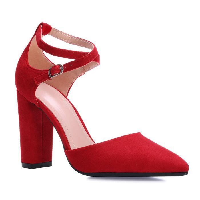 757f7feb7fb8a9 Escarpins rouge a bride - Achat / Vente pas cher