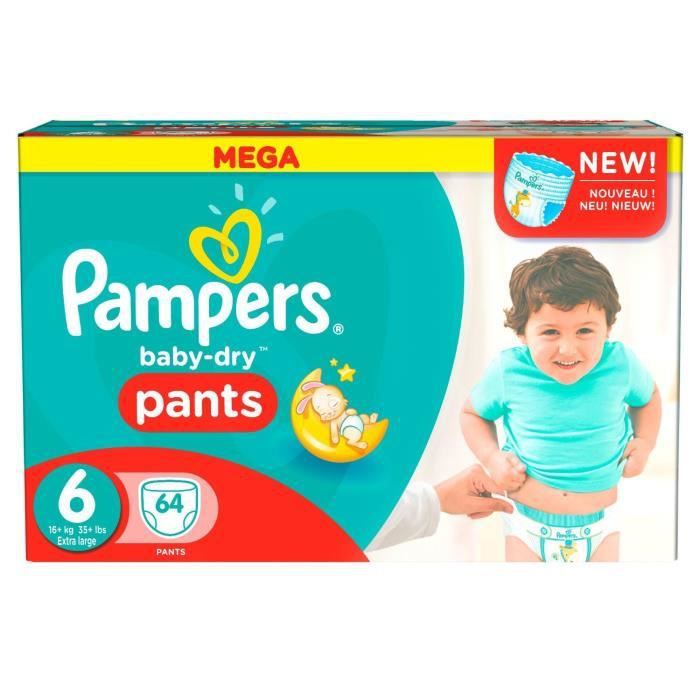 COUCHE PAMPERS Couches Baby Dry Pants Taille 6 - 64 couch