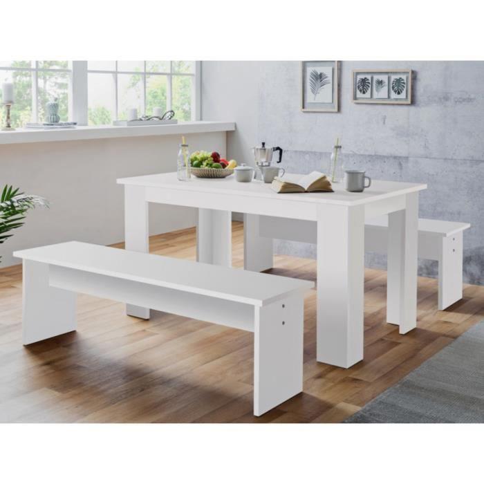 Ensemble table + 2 bancs DIGORY - 6 couverts - Coloris blanc