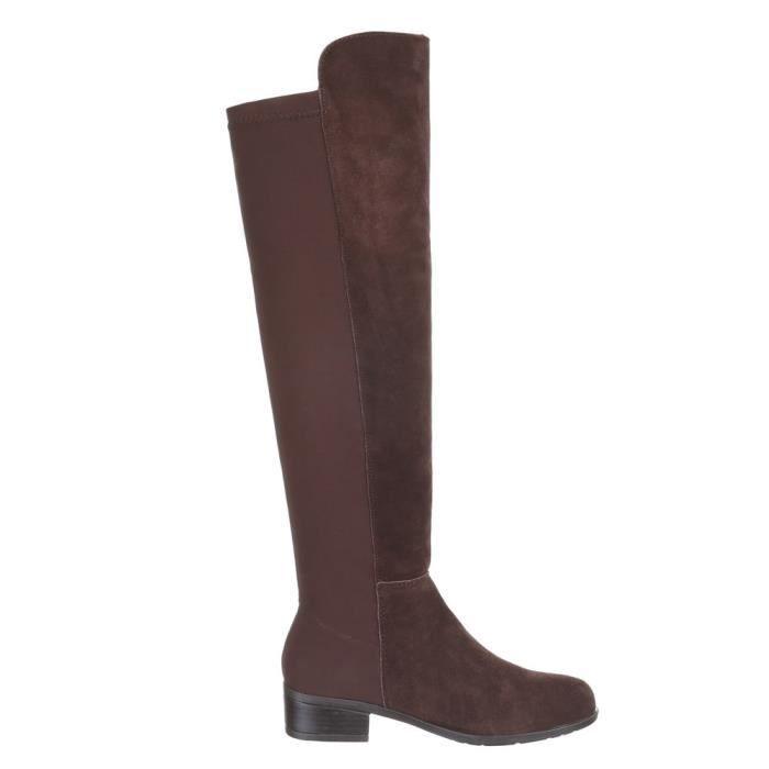 Femme chaussures botte doublé suède marron 40