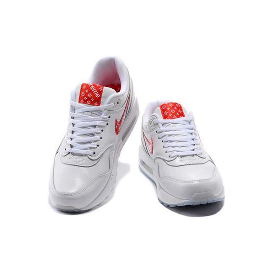 25d02ff69254 Baskets Supreme x Nike Air Max 1 Premium Chaussures homme Blanc Rouge Blanc  Blanc - Achat   Vente skateshoes - Cdiscount