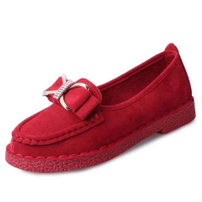 chaussures multisport Mixte Mesdames Beauté Slip-on Casual Mocassins rouge taille8