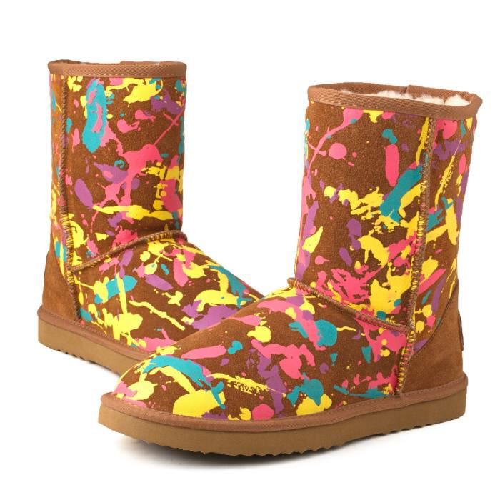 Ausland Fashion Midcalf Graffiti Water Resistant Leather Boot 95325 QPIZF Taille-35 1-2 GTUYfy