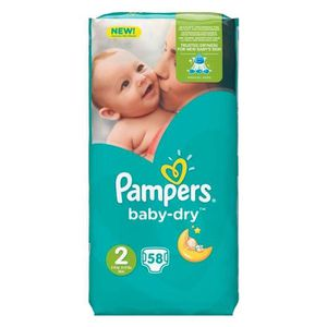 COUCHE Pampers Couches Baby-Dry Géant Taille 2 (3-6Kg) x5