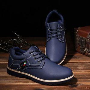 hommes bottes de cheville fourrure doublé automne hiver Martin bottes chaussures bleu Ff91Gg