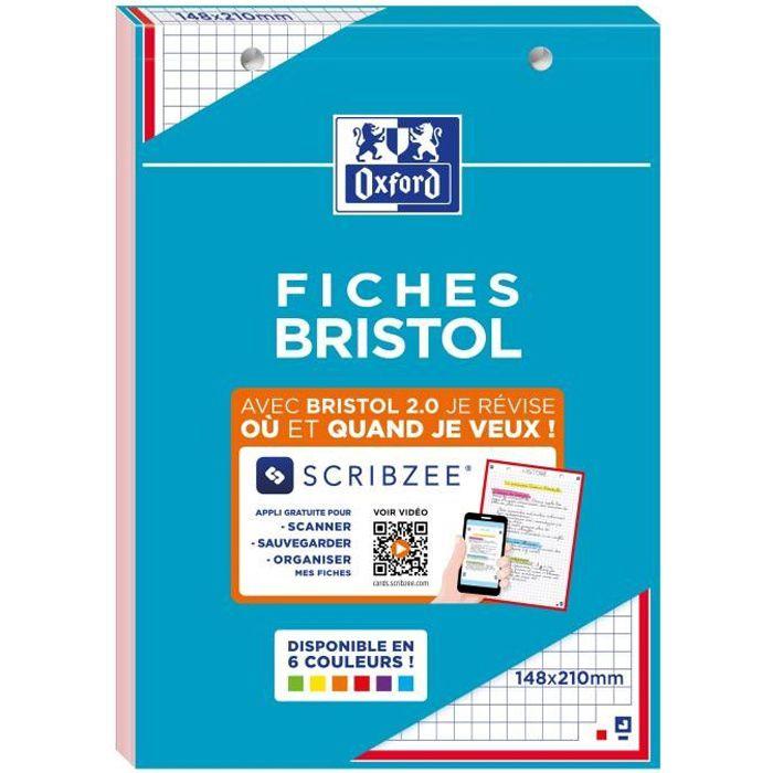 OXFORD Bloc fiche bristol 2.0 perforé - 14,8 x 21 cm - 30 fiches - 210g - 5x5 - Rouge