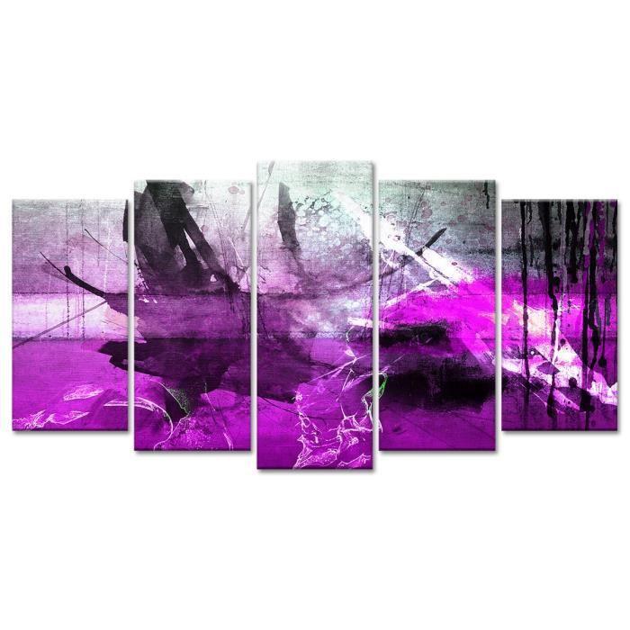 Thème : Abstrait - Tableau Déco Abstrait Moderne Taches de Couleurs - 150x80 cm - VioletTABLEAU - TOILE