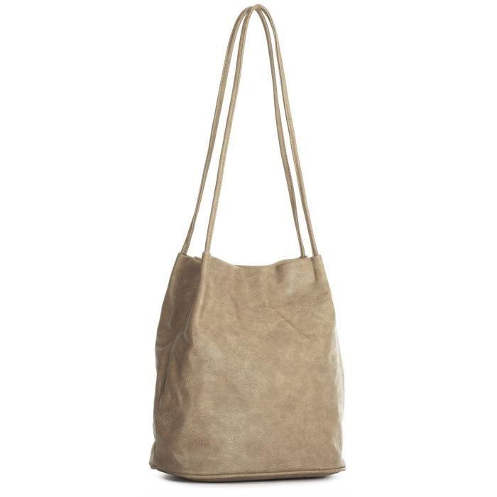 BHSL Womans Designer uni doux Faux cuir Hobo Seau Sac à bandoulière MIUW1