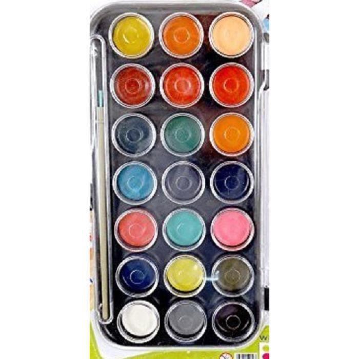 palette peinture a l 39 eau enfant x 21 couleurs achat vente jeu de peinture palette peinture a. Black Bedroom Furniture Sets. Home Design Ideas