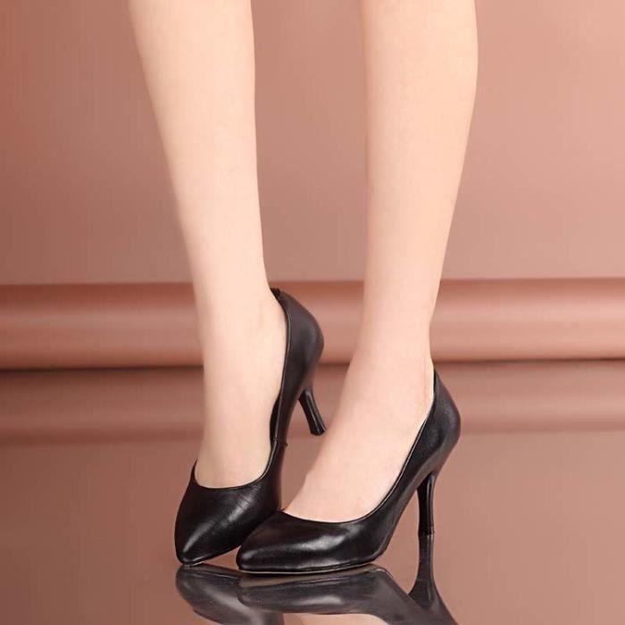 Nouvelles pointues femmes orteil noir talons 8cm chaussures fines chaussures de soirée