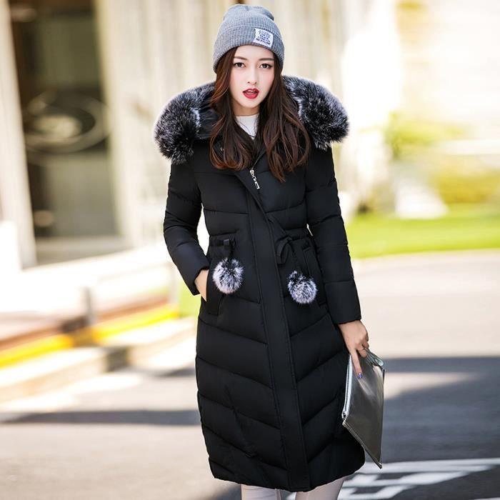 Épaissir Fourrure Grande Manteau Slim Doudoune Hiver Hairball Mode Femme Réglable Capuche De Col Longue Noir Taille qUpwUIzY1