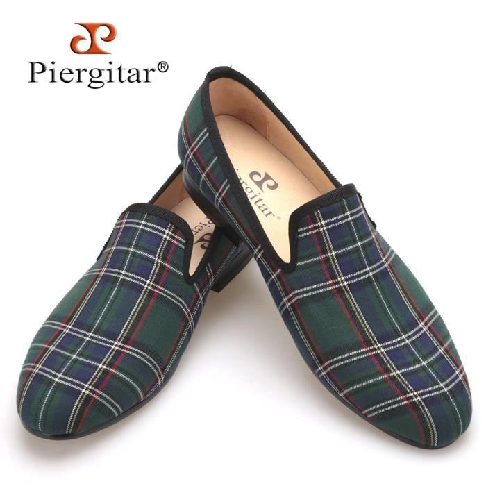 Scotch plaids en tissu à la main Chaussures Hommes Rouge et Bleu Casual Mocassins Banquet et bal Hommes Flats Plus Size