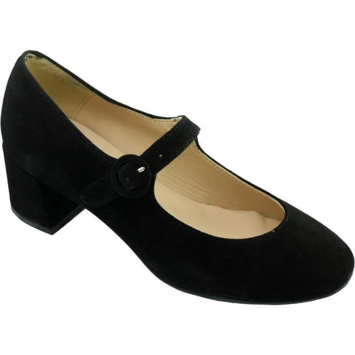 HELINA - Escarpins à bride et talons bottiers chaussures Femme marques Angelina cuir nubuck noir