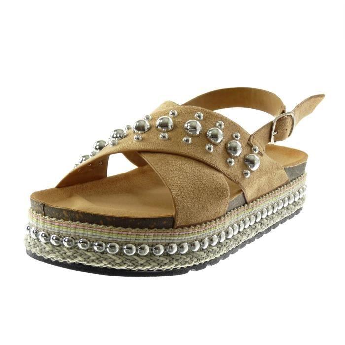 Angkorly - Chaussure Mode Sandale Mule plateforme femme clouté perle corde Talon compensé plateforme 4 CM - Beige - S09 T 40