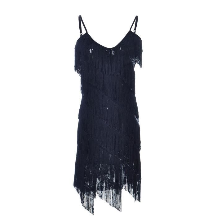 Womens Fringe Sequin Strap Backless 1920s Flapper Party Mini Dress 2C9FLS Taille-36