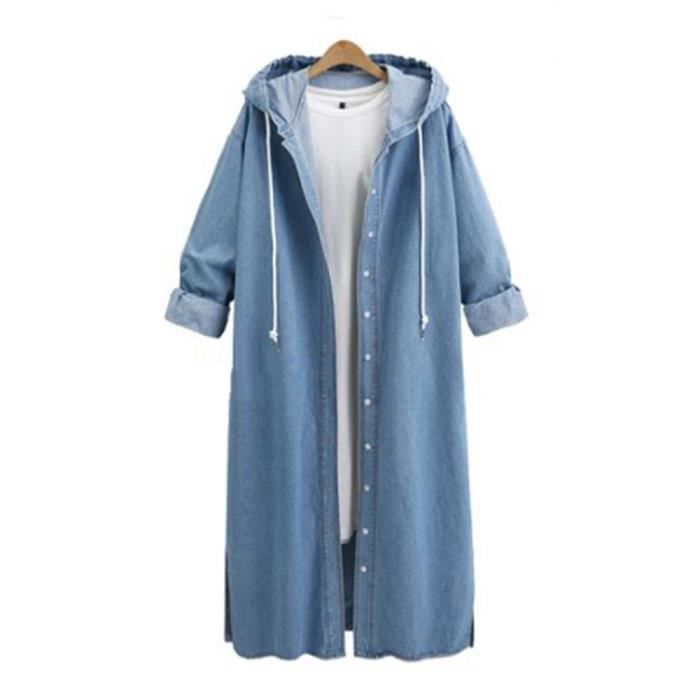Veste Femmes capuche Casual manches longues Veste en jean long manteau Jean Outwear Pardessus @Bleu clair