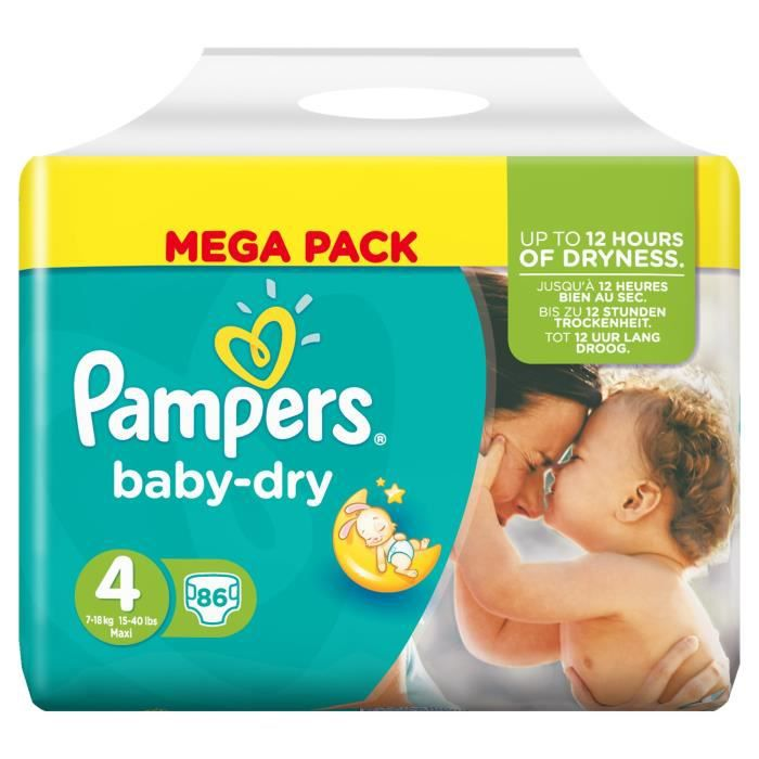 Pampers Couches Baby Dry Taille 4 De 7 A 18kg 86 Couches