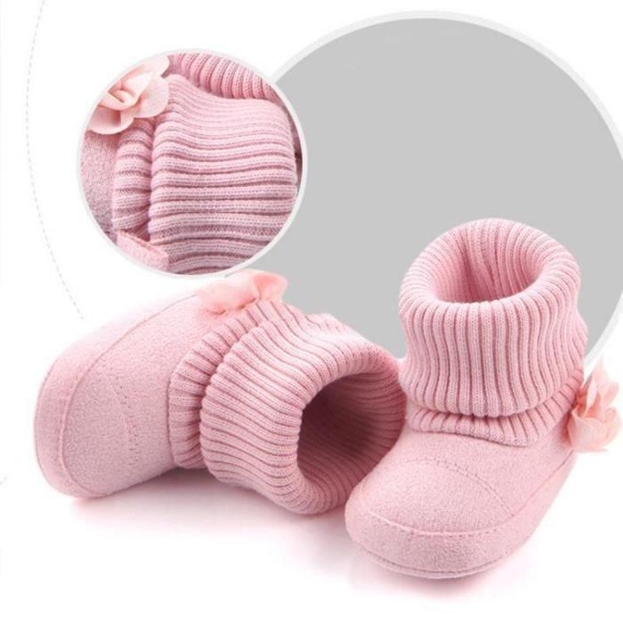 Bottes de Neige Chaude Infantile en forme de la Fleur kaki 12 cm