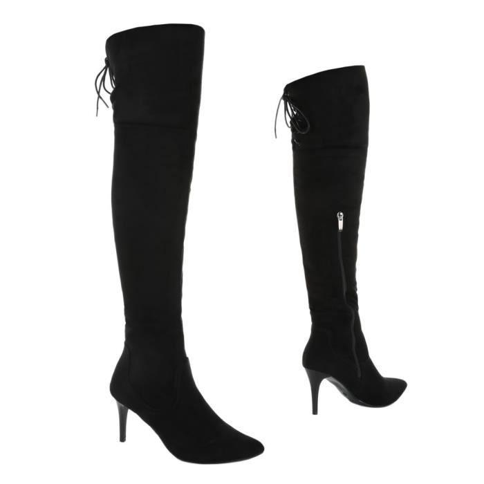Femme chaussures Overknee botte High Heels noir 36