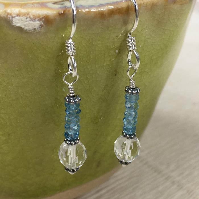 Femmes Janecka Ciel bleu et Topaze Boucles doreilles en cristal clair - argent sterling - Décembre Birthstone Q1IAQ