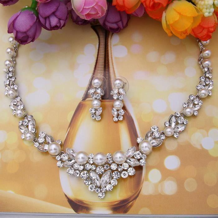 EVER FAITH®-Femme Cristal Autrichien Perle Artificielle Parure Bijoux Elégant Ivoire Argenté N00476-1